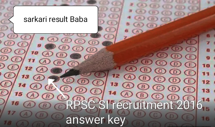 RPSC SI recruitment 2016 final answer key