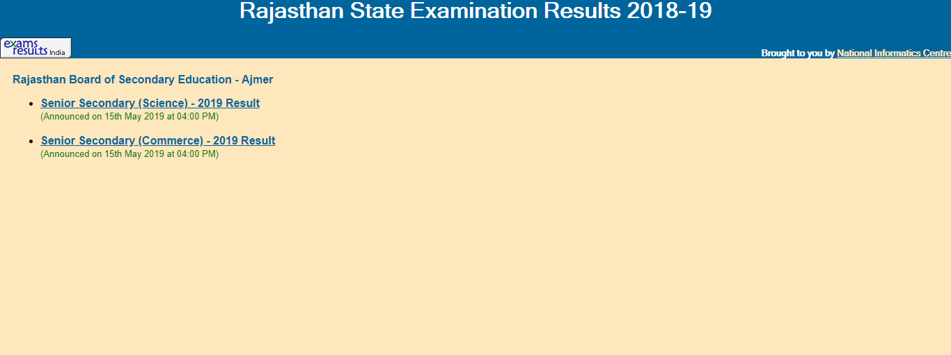 Rajasthan Board 8th class Result 2019 BSER   | rajresults.nic.in 2
